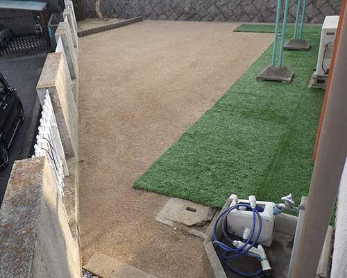 お庭の防草対策施工